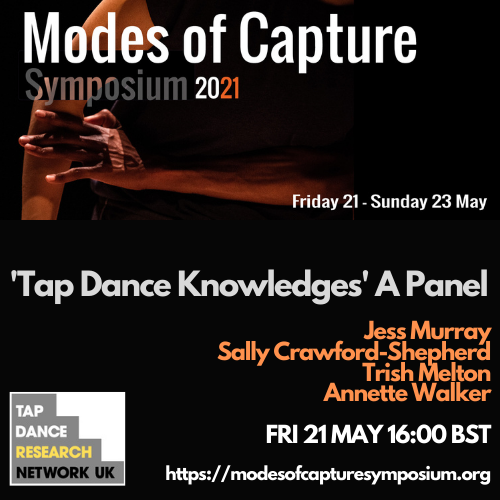 Modes of Capture Symposium 2021, Tap Dance Knowledges Panel, Tap Dance Research Network UK - Jess Murray, Sally Crawford-Shepherd, Trish Melton, Annette Walker